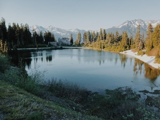 Wall Murals A lake on snow capped Mount Baker in Washington State, United State.