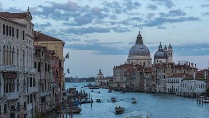 Wall Mural - Venezia city skyline at sunet with landmark buildings in Venice, Italy