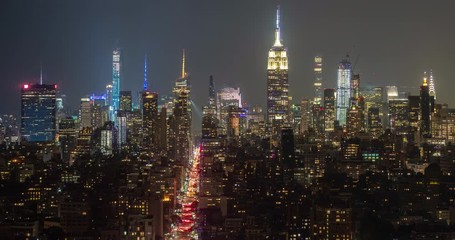 Fototapete - New York City Manhattan buildings skyline night timelapse