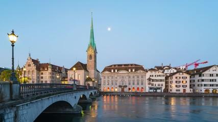 Wall Mural - Fraumunster church night to day time lapse in Zurich, Switzerland