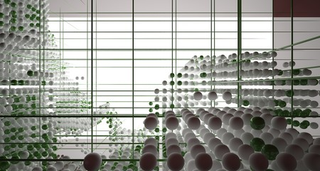 Abstract brown  interior from array white and green spheres with window. 3D illustration and rendering. Fotoväggar