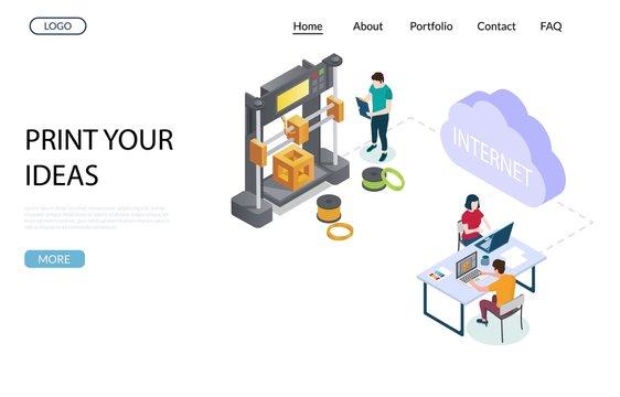 Online 3d printing vector website landing page design template