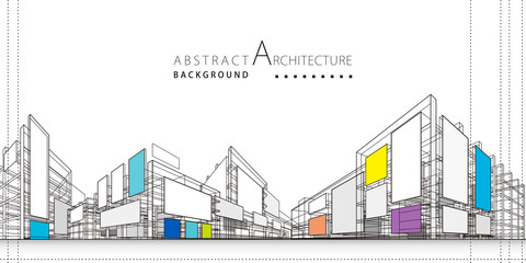 3D illustration architecture building construction perspective design,abstract modern urban background. Fotobehang