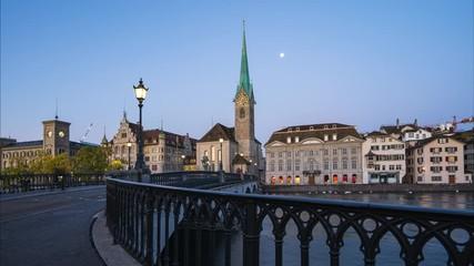 Wall Mural - Zurich city skyline with Fraumunster church in Zurich, Switzerland
