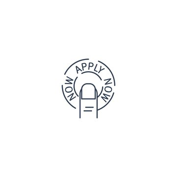 Round button apply now. Vector linear icon on a white background.