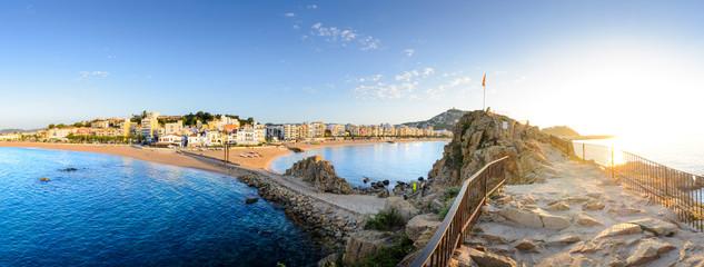 Blanes city and beach from Sa Palomera rock at morning in Spain