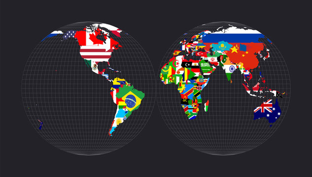 Worldmapwith flags of each country. Mollweide projection interrupted into two (equal-area) hemispheres. Map of the world with meridians on dark background. Vector illustration.