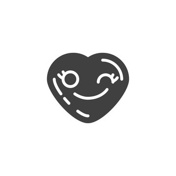 Winking heart face emoji vector icon. filled flat sign for mobile concept and web design. Flirting heart shape emoticon glyph icon. Love symbol, logo illustration. Vector graphics