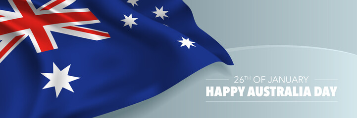 Happy Australia day vector banner, greeting card