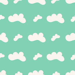 Seamless pattern with cute white clouds. Vector illustration.