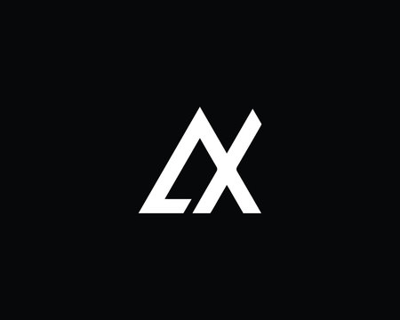 Minimalist Letter AX Logo Design , Editable in Vector Format in Black and White Color
