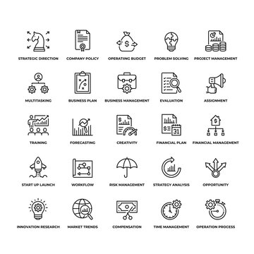 25 Assessment of Business outline icons created for mobile apps,web sites and projects. Icon set contains such icons as Risk Management, Strategic Analysis, Business Plan and so on