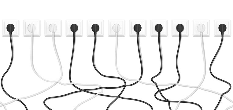 Realistic electric white socket with connected white and black plugs. Seamless vector tangled wires background.