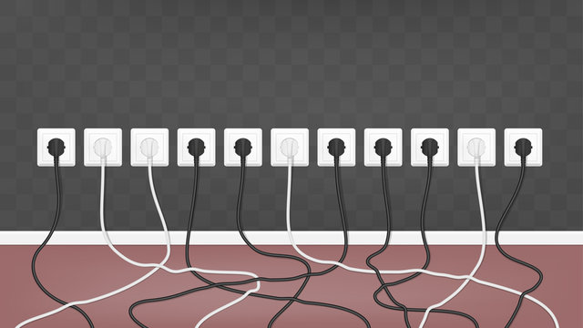 Realistic electric white socket on the wall with connected white and black plugs. Vector tangled wires background.