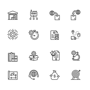 Production Management outline icon set contains such icons as Export, Import, Logistics, Production, Agreement and so on.