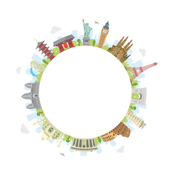world travel circular vector illustration ( world famous buildings / world heritage ) / Blank text space in the center