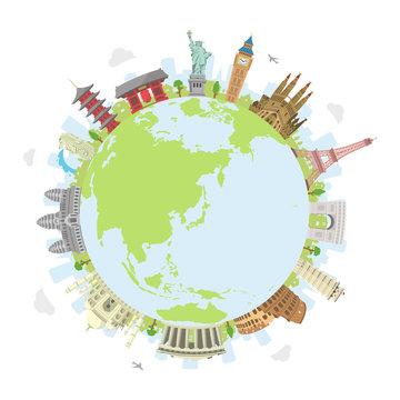 world travel circular vector illustration ( world famous buildings / world heritage ) / earth
