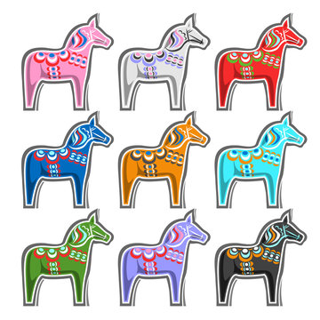 Vector set of Swedish wooden Horses, traditional symbol of Sweden - Dalecarlian horse or Dala horse, collection of 9 cut out swedish kids toys on white background.