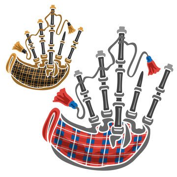 Vector set of scottish Bagpipes, 2 cut out illustrations of classical different bagpipes leather and red tartan on white background.