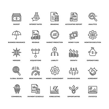 Business and Finance Simple Set of Outline Icons. Unique Design of Thin Line Icon Set