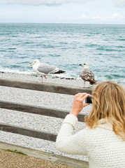 Woman taking picture of seagulls