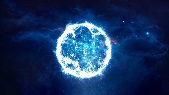 Abstract 3d rendering illustration of a blue supernova artwork