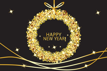 Happy new year glowing gold vector background