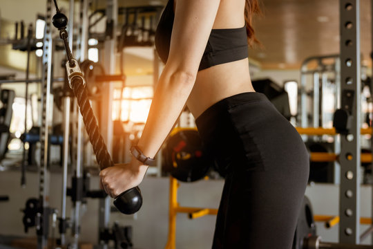 Fitness woman doing exercise workout at gym. Healthy and lifestyle concept.