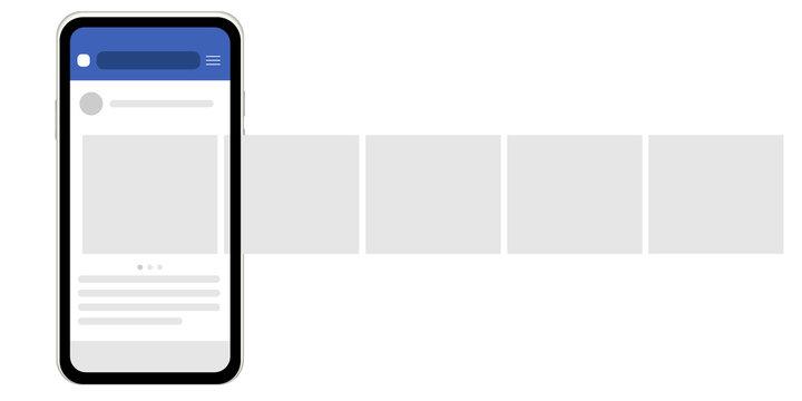 Mock up. Social network. Interface carousel. vector