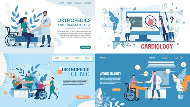 Medical Flat Landing Page Design Templates Set. Online Medicine, Health Insurance, Therapy. Orthopedic Clinic Services, Work Injury Treatment, Cardiology Department. Vector Cartoon Illustration