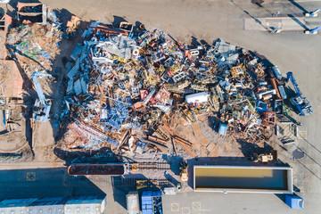 Aerial view of heap of garbage