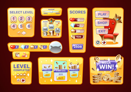 Game UI kit user interface. Icons, dashboard for app