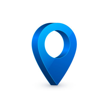 3d map pointer. Blue navigator symbol isolated on white background. Vector illustration