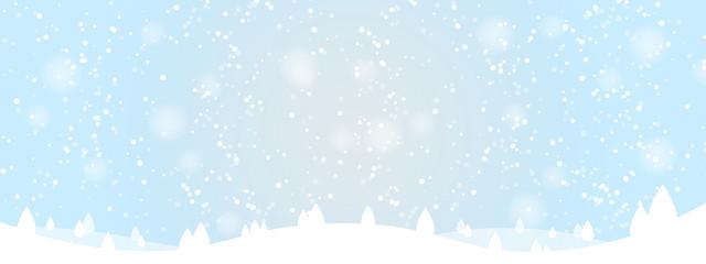 Printed kitchen splashbacks Light blue Winter landscape with snow and trees on hills. Christmas background. Vector Illustration