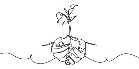 Fototapeta Continuous one line drawing of back to nature theme with hands holding a plant. Concept of growing and love earth.