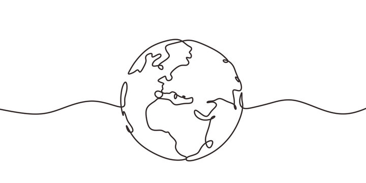 Continuous one line drawing of earth. Concept of globe with circle hand drawn.