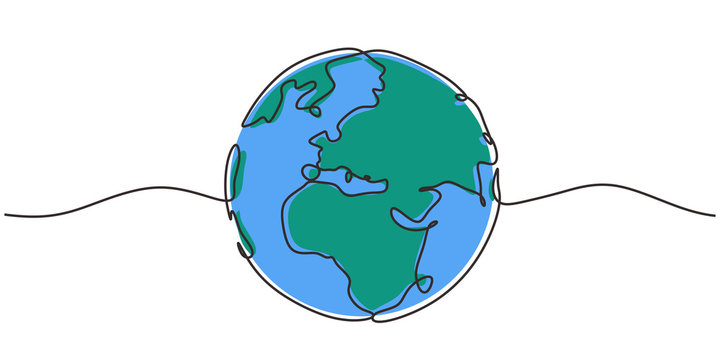One line style world. Simple modern minimalism continuous earth vector.