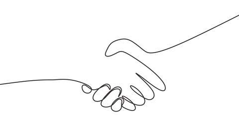 One line drawing of shaking hands. Concept of handshake of two persons.