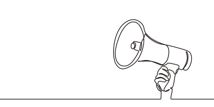 Continuous one line drawing of horn speaker hold by hand sign and symbol for announcement and employee hiring. Good for banner and advertisement.