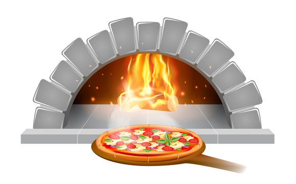 Brick stone oven pizza illustration emblem or label for pizzeria menu, isolated on white background