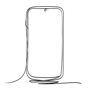 Mobile Phone Line Art Vector Illustration. Isolated on White Background.