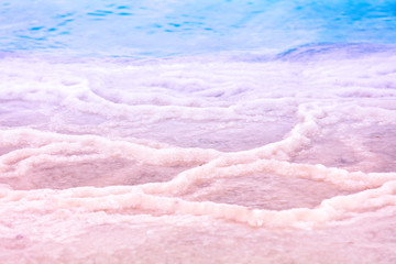 Fototapete - The salty shore of the Dead Sea. Abstract nature background