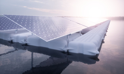 A closeup picture of a floating array of solar panels installed on a white pontoon in a magical purple morning light setting with a distant foggy forest in the background. 3D render.