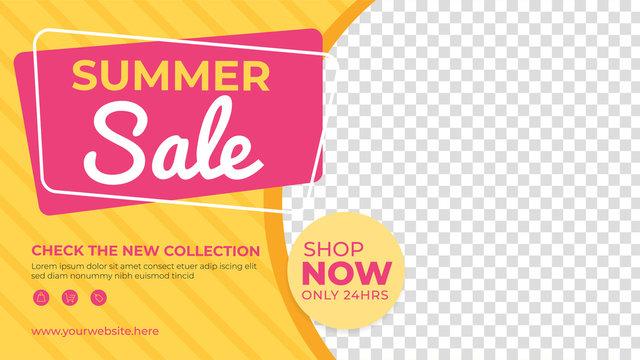 Summer sale banner template. Promotion sale banner for website, flyer and poster