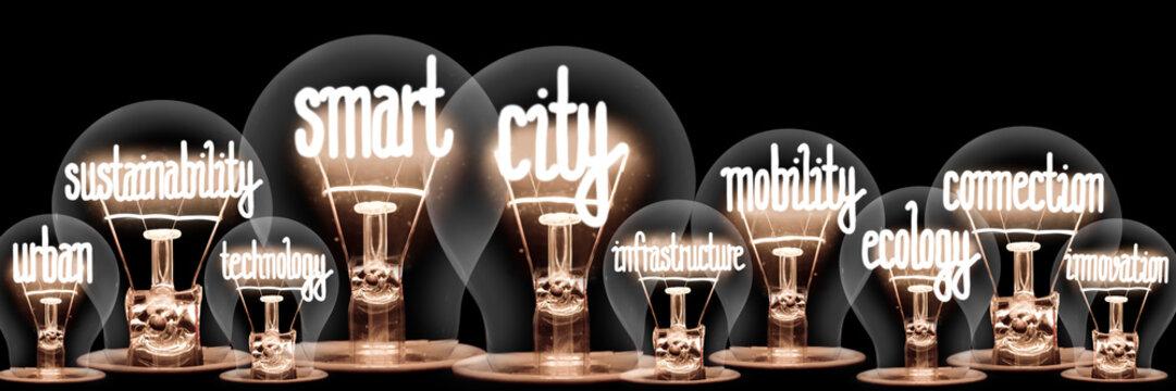 Light Bulbs with Smart City Concept