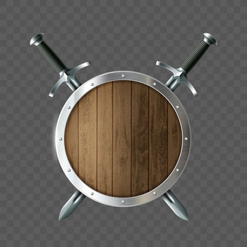 Round wooden shield with swords. Coat of arms