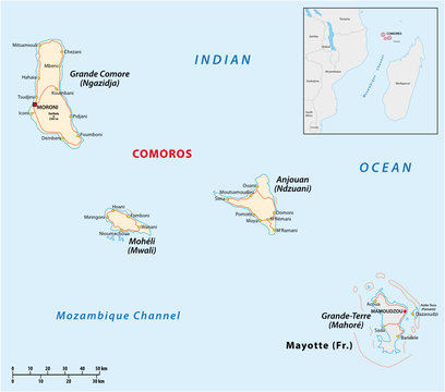 Map of the Union of the Comoros and Mayotte