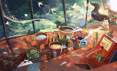 In de dag Graffiti Girl, art, little fresh, beauty, girl, dream, dream, dream, lunch break, rest, sleep, sleep, paper airplane, tea table, desk, desk, illustration, tea cup, magic, aesthetic, fantasy,