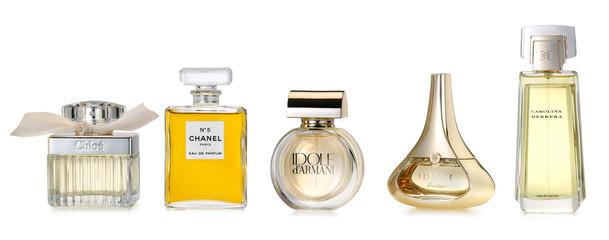 Barcelona-Spain- October 2014: Luxury fine fragrances for woman. Fine and luxury brands: CHLOE, CHANEL Number 5, IDOLE by Armani, IDYLLE by Guerlain, CAROLINA HERRERA