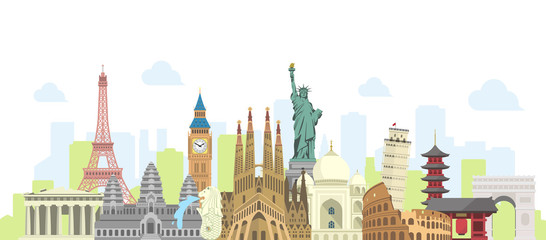 world travel vector banner  illustration ( world famous buildings / world heritage )  Wall mural